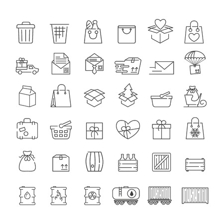 Vector thin line icons set for logistics, delivery and shipping infographics and mobile apps UXUI