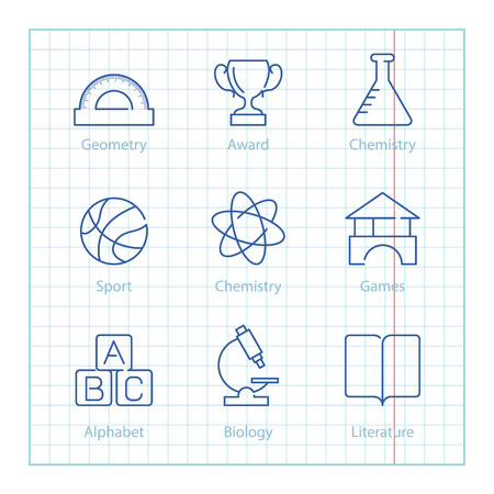 bundle of letters: Vector thin line icons set for Education and Science infographics