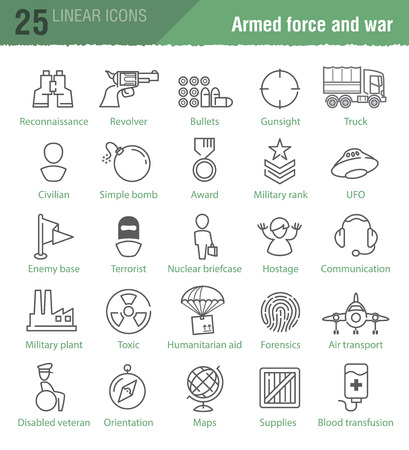 nuke: Twenty five vector linear icons for military infographics