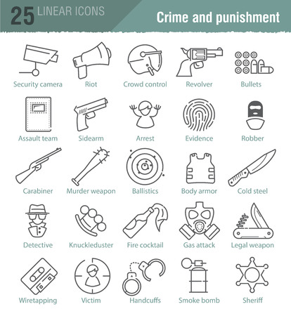 gun control: Vector linear icons set for police infographic, mobile game UX design and print
