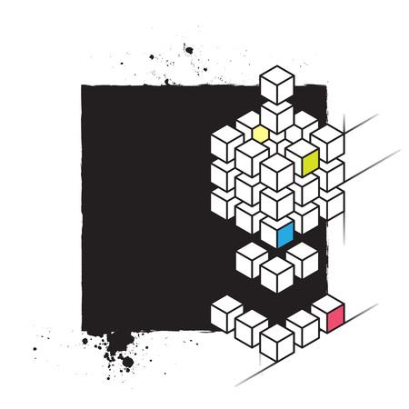 plantilla de impresión serigráfica abstracto del vector para la industria textil o diseño de carteles con formas geométricas y las salpicaduras