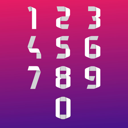 web 2 0: Vector flat graphic style numbers set for mobile UXUI kit and web design