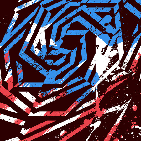 crushed: Vector abstract grunge print design. Dirty brush painted geometric design with american flag colors, stars and stripes. Illustration