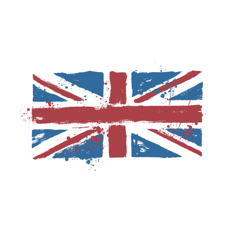 ink drops: Vector grunge stylized UK flag with paint splatters and ink drops
