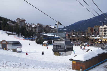 boarders: Blackcomb Gondola in Whistler Village, Canada