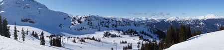 whistler: Panoramic view of Whistler Mountain range, Canada in Winter Stock Photo
