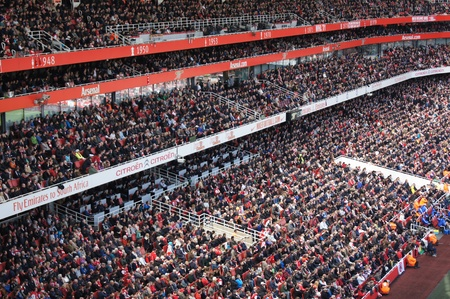 Crowd Watching Arsenal V Chelsea 0-0 draw football/soccer match played on 21st April 2012, Emirates Stadium,  London, England
