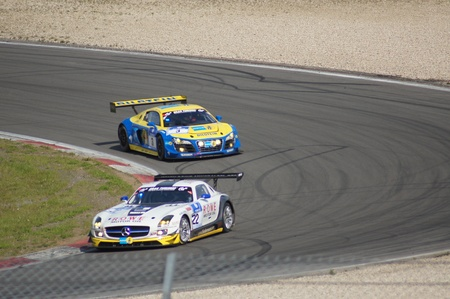 came: Nurbergring, Germany - May 20, 2012: 24 Hours Endurance Motor Car Race #3 Audi Sport Team Phoenix came first