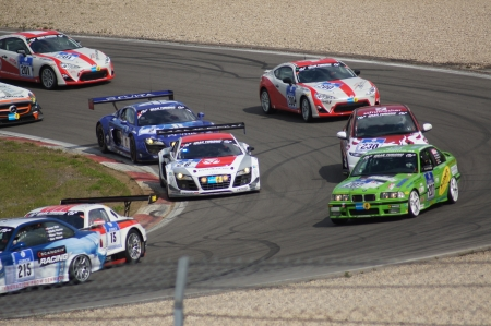 24 26: Nurbergring, Germany - May 20, 2012: 24 Hours Endurance Motor Car Race #26 Mamerow Racing Audi R8 came second