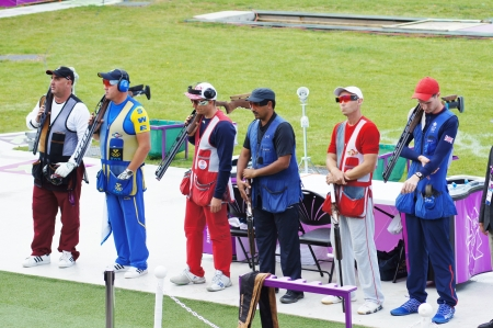 wilson: Final six Competitors Wilson, Hakan, Mosin, Fokeev, Aldeehani and Bognar at Double Trap Shooting Competition at the Olympic Games, Royal Artillery Barracks, London, England on 2nd August 2012