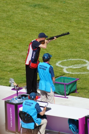 Walter Eller Team USA defending Gold medallist at Double Trap Shooting Competition at the Olympic Games, Royal Artillery Barracks, London, England on 2nd August 2012