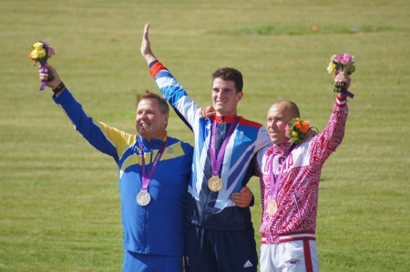 wilson: Winners of the Double Trap Shooting Competition Vasily Mosin Team Russia winning Bronze, Hankan Dahley Team Sweden winning Silver and Peter Wilson Team GB winning Gold at the Olympic Games, Royal Artillery Barracks, London, England 2nd August 2012