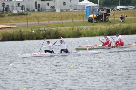 Men�s canoe doubles Winners Germany Gold & Russia Bronze1000m for the 2012 London Olympic Games, Eton Dorney, England on 7th August 2012