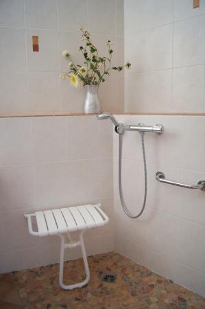 無効にするために設計されたバスルームはシャワーと折る座席と手を持つ弱い人々 シャワー開催 写真素材
