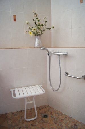 Bathroom shower designed for disabled and infirm people with fold down seat and hand held shower photo