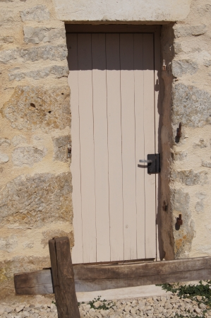 outbuilding: Door opening to an outside storage shed