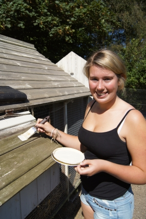 creosote: Girl applying cream coloured stain to outside shed to weatherproof the wood
