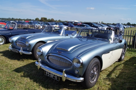 WEST SUSSEX, ENGLAND. SEPTEMBER 2012: Austin Healey 3000 MKII convertible classic car at the Goodwood Revival festival on 15th September 2012; Goodwood, West Sussex, England.