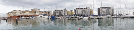 sovereign: Panoramic view of apartments in Sovereign harbour, Eastbourne, Britain