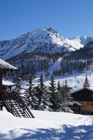Scenic view of mountains in French ski resort Montgenevre photo