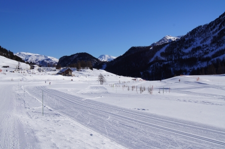 Cross Country skiing trail in French ski resort Montgenevre photo