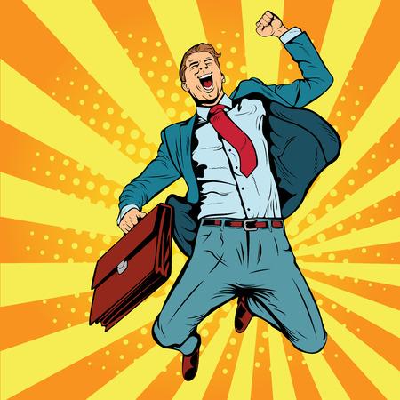 Geschäftsmann die Gewinner Pop-Art Retro-Vektor-Illustration. Erfolgreicher Geschäftsmann, der vor Freude springt. Froher Mann mit Aktenkoffer des Geldes und der Dokumente.