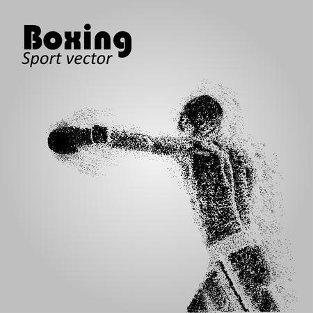 Boxer dalle particelle. Illustrazione vettoriale boxe. Sagoma del pugile. Immagine degli atleti composta da particelle.