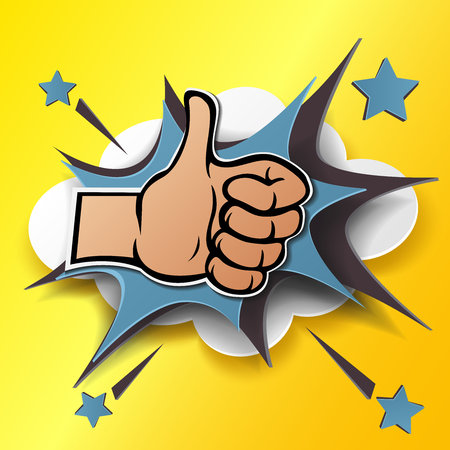 Cartoon hand silhouette with thumb up. Gesture of like, agree, yes, approval or encouragement. Vector illustration with dropped shadow in pop art style and paper