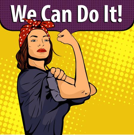 フェミニズムのポップアート セクシーな強い女性の象徴。レトロなスタイルで漫画ベクトル カラフルなポップアート イラスト。私たちはポスター