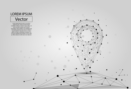 Abstract polygonal line and point on white background. Vector business mash illustration.