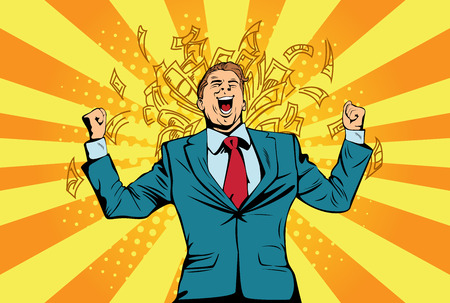Portrait of a happy businessman standing near a wall with a dollar bill. Financial success celebrating with money, pop art retro comic book vector illustration Lottery and cash prize Stock Illustratie