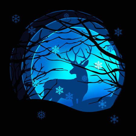 Vector paper art style. Deer in the snow with moon on dark bakground. Christmas and New Year post card, flyer, greeting card