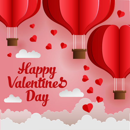 Happy Valentines Day. Vector illustration with origami made hot air balloon fly in the sky with heart float on the sky. Paper art style. Stock Illustratie