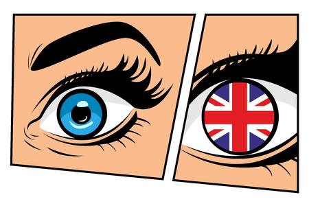 美しい男性または女性の目で英国の旗。口を開いたセクシーな驚きの女性。ポップアートレトロなコミックスタイルでカラフルなベクターの背景。  イラスト・ベクター素材