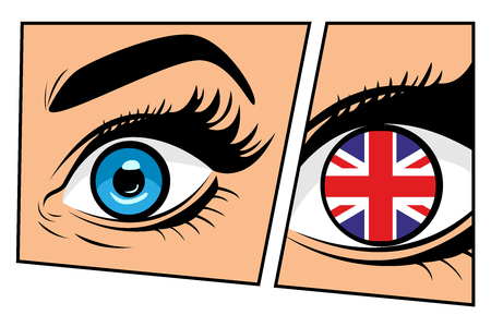 Flag of the Great Britain in a beautiful male or female eye. Sexy surprised woman with open mouth. Colorful vector background in pop art retro comic style.