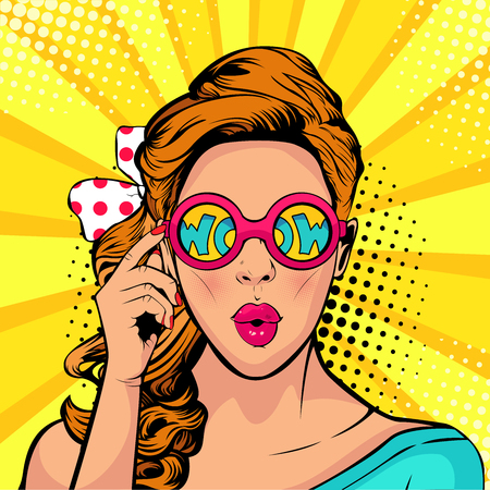 Wow pop art face of a woman open mouth holding sunglasses in her hand with inscription wow in reflection vector illustration in retro comic style. Illustration