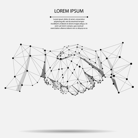 Abstract line and point agreement handshake business concept. Polygonal point line geometric design. Hands chain link internet hyperlink connection vector illustration.