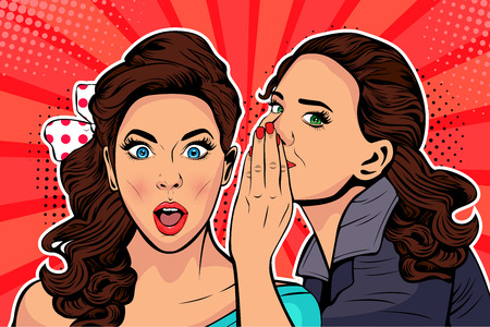 Woman whispering gossip or secret to her friend. Colorful vector illustration in pop art retro comic style.