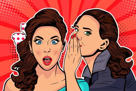 Vrouw fluisteren roddel of geheim aan haar vriend. Kleurrijke vectorillustratie in pop-art retro komische stijl.
