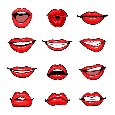 Comic female lips set. Smile, angry, kiss, flirt open and close mouth. Colorful vector illustration in pop art retro comic style. Banco de Imagens - 95687458
