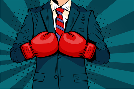 Man in boxing gloves vector illustration in comic pop art style. Businessman ready to fight and defend his business concept. Fight club. Boxing and glove, boxer strength.