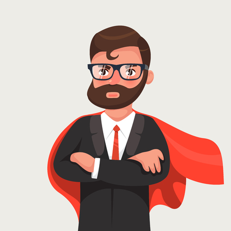 Businessman in glasses a red cloak. Superhero of business. Vector illustration in a flat style Illustration