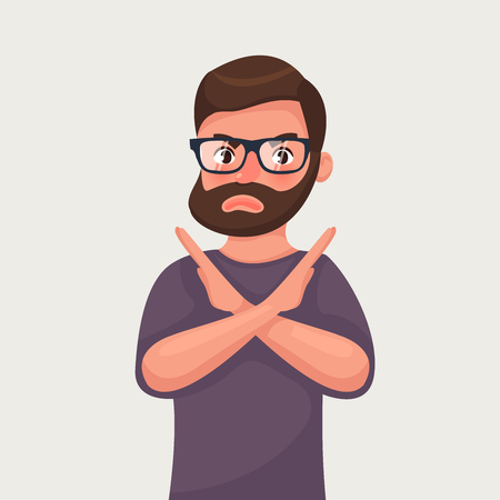 Man shows a gesture stop or no. Vector illustration in cartoon style