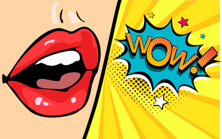 Female mouth with speech bubble wow.