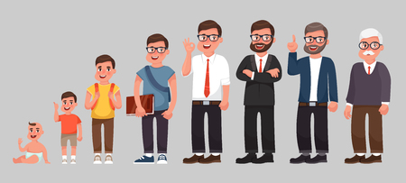 Complete life cycle of person's life from childhood to old age. A baby, a child, a teenager, an adult, an elderly person. Generation of people and stages of growing up. Vector illustration in cartoon style