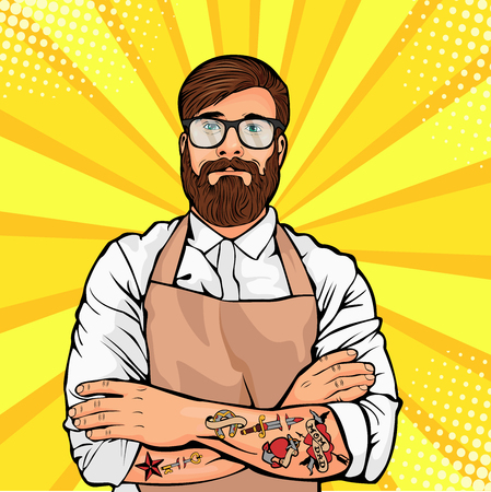Vector illustration of a comic pop art style. Hipster artisan or worker in apron