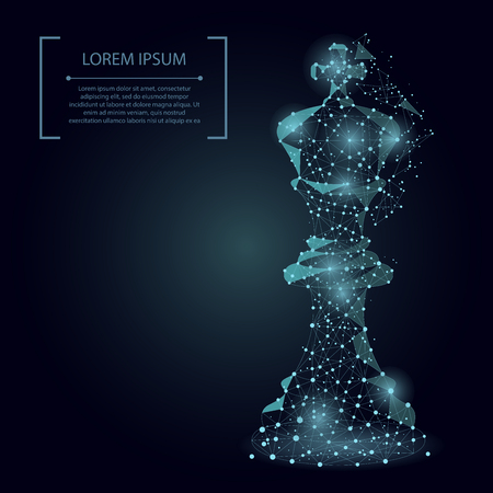 Abstract mash line and point king of chess. Vector business illustration. Polygonal low poly. 矢量图像