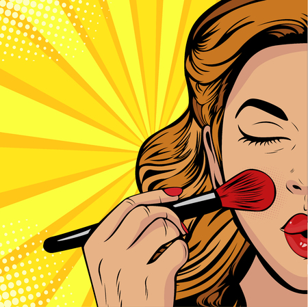 La belleza del rostro. Maquillaje, pincel de mujer provoca el tono del rostro. Ilustración de vector de estilo cómic retro pop art.