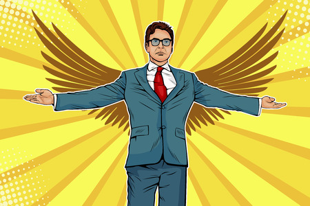 Businessman with a variety of spread arms and wings. Business angel, investmentor or sponsor concept. Vector illustration in pop art retro comic style Ilustracja