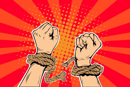 Freedom arm breaking the limits of the slavery pop art retro style. Human rights. The struggle for freedom. Prisoner breaks the chain. Vector illustration.